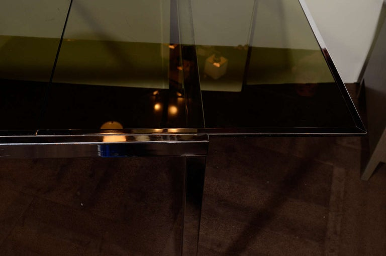 1970s Chrome and Grey Glass Extension Dining Table by Milo Baughman for DIA For Sale 1