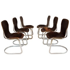 1970s Chrome and Leather Dining Chairs by Willy Rizzo for Cindue, Set of 6