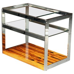 1970s Chrome and Rosewood Bar Cart or Trolley Richard Young Merrow Associates