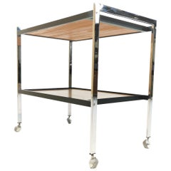 1970s Chrome and Teak Coffee Table Drinks Trolley by Howard Miller