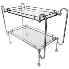 1970s Chrome Bar Cart with Glass Shelves