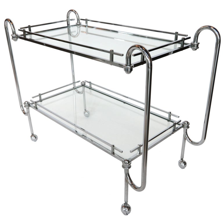 1970s Chrome Bar Cart with Glass Shelves