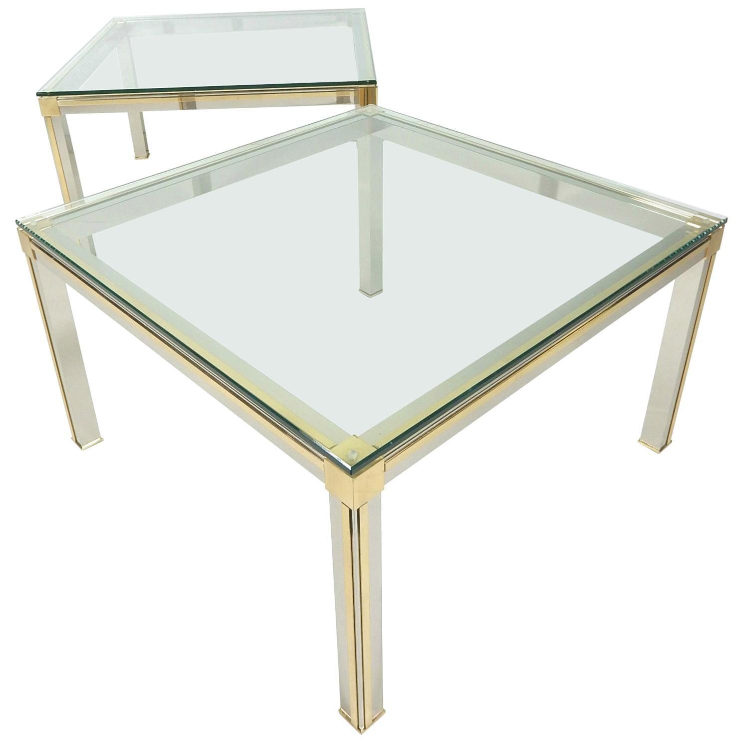 1970s Chrome, Brass and Glass Side Tables Romeo Rega