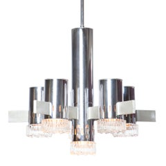 1970s Chrome, Brushed Brass and Glass Chandelier by Sciolari