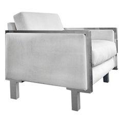 1970s Chrome Frame Club Chair with Cream Velvet Upholstery