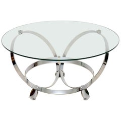 1970s Chrome & Glass Coffee Table by Knut Hesterberg