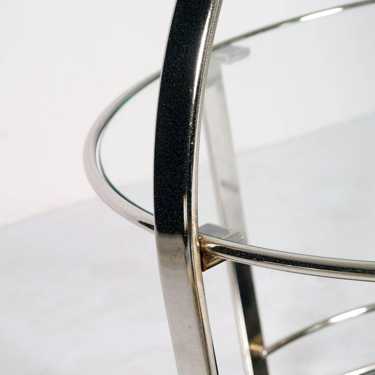 Minimalist 1970s Chrome Round Cocktail Bar Cart with below Smoked Glass and Crystal Above For Sale
