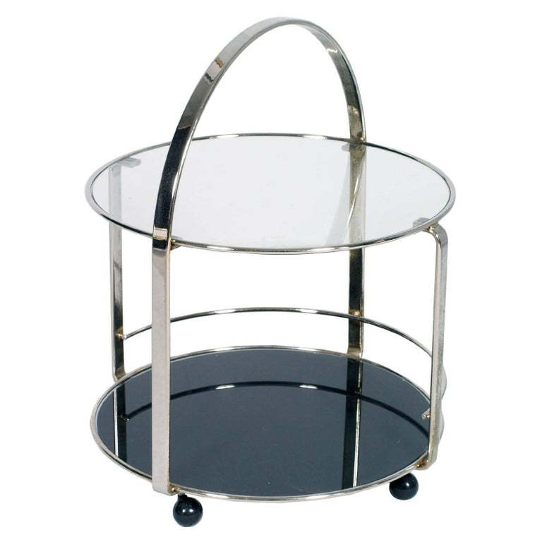 1970s Chrome Round Cocktail Bar Cart with below Smoked Glass and Crystal Above For Sale