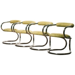 1970s, Chrome Tubular Set of Four Dining Chairs by Tecnosalotto, Italy