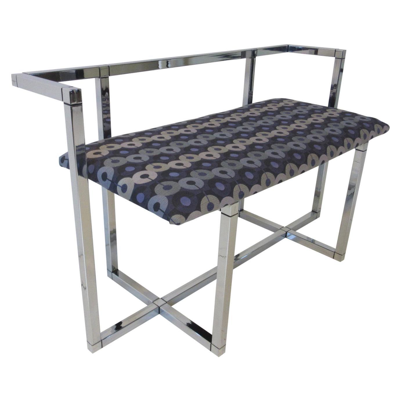 1970s Chrome / Upholstered Bench Settee