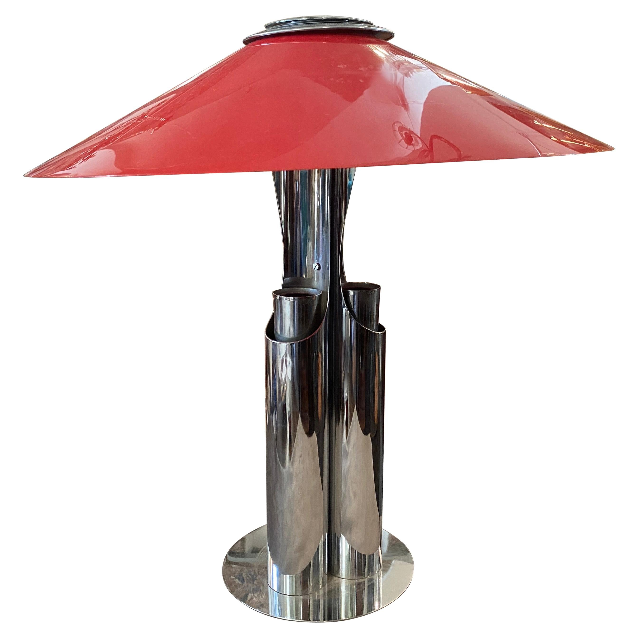 1970s Chromed Metal And Red Acrylic Space Age Italian Table Lamp