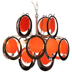 1970s Chromed Plastic Rings with Orange Plastic Circles