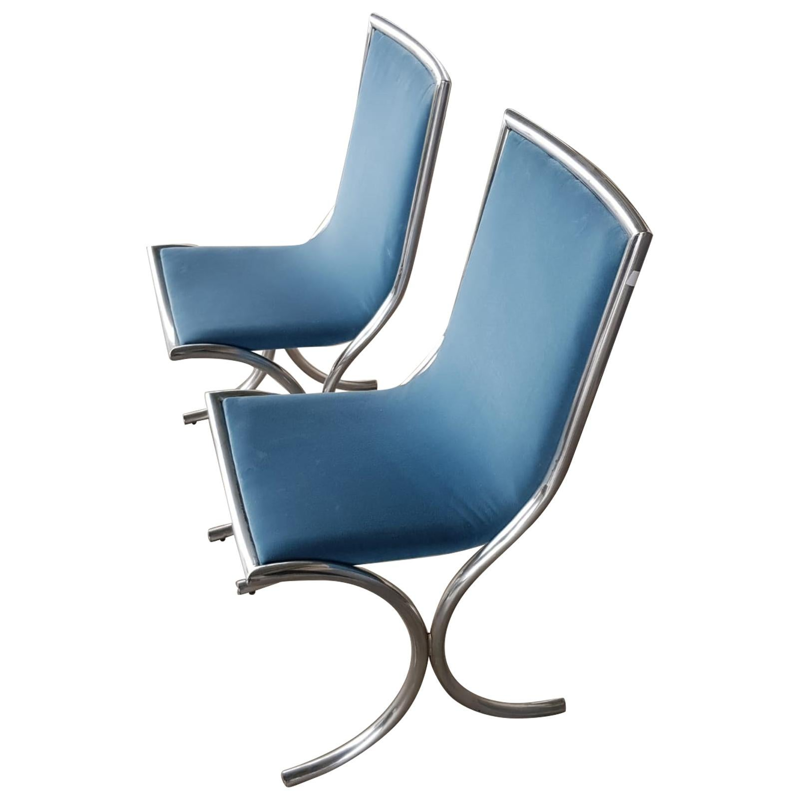 1970s Chromed Steel Light Blue Velvet Chairs, Set of 2