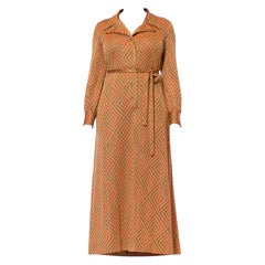 1970S Cinnamon Brown & Orange Poly/Lurex Double Knit Long Sleeved Maxi Cocktail