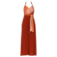 1970S Cinnamon Brown & Peach Polyester Jersey Sexy Draped Wrap Top Disco Jumpsu
