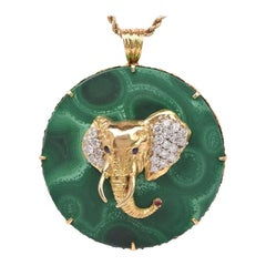 1970s Circular Large Malachite Gold Diamond Elephant Pendant