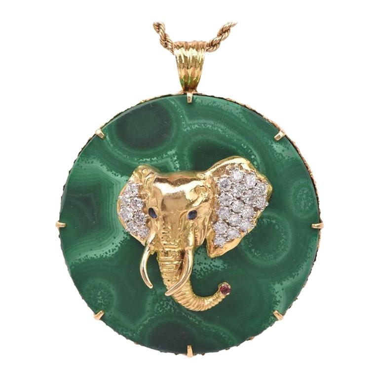 1970s Circular Large Malachite Gold Diamond Elephant Pendant For Sale