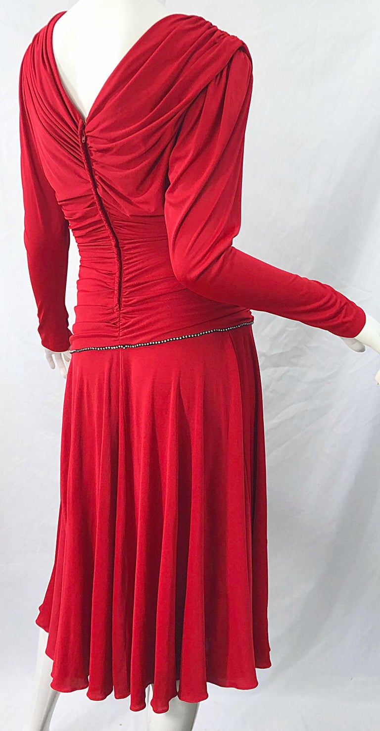 1970s Claraluna Original Lipstick Red Rhinestone Slinky Jersey Vintage 70s Dress For Sale 6