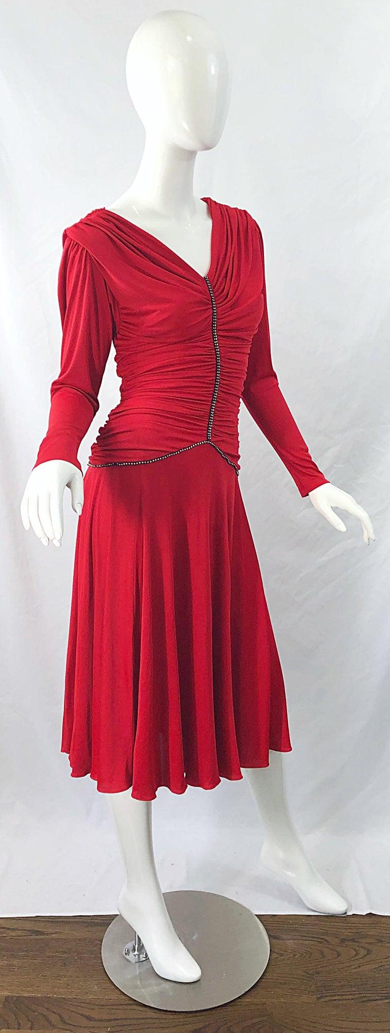1970s Claraluna Original Lipstick Red Rhinestone Slinky Jersey Vintage 70s Dress For Sale 7