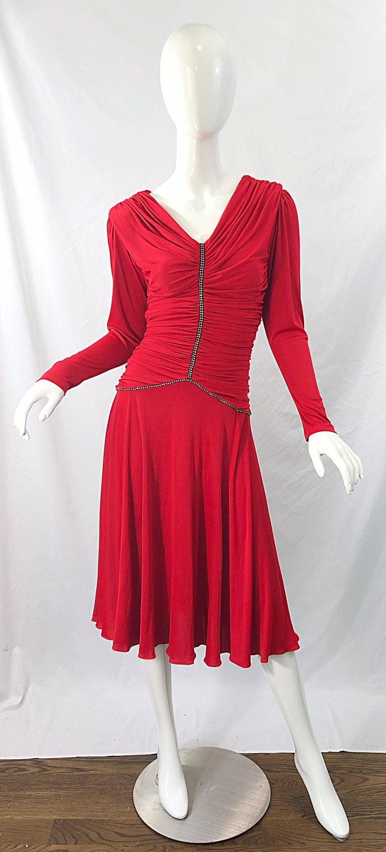 1970s Claraluna Original Lipstick Red Rhinestone Slinky Jersey Vintage 70s Dress For Sale 9