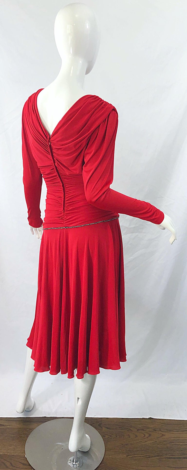 1970s Claraluna Original Lipstick Red Rhinestone Slinky Jersey Vintage 70s Dress In Excellent Condition For Sale In Chicago, IL