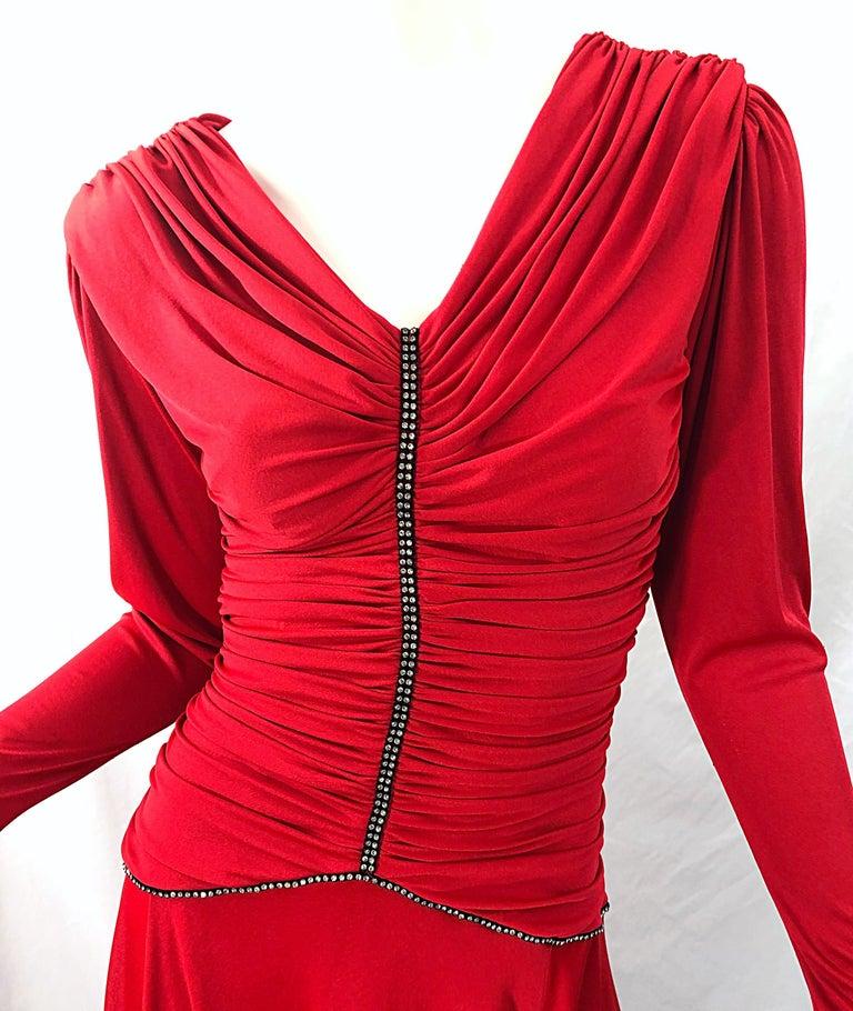 Women's 1970s Claraluna Original Lipstick Red Rhinestone Slinky Jersey Vintage 70s Dress For Sale