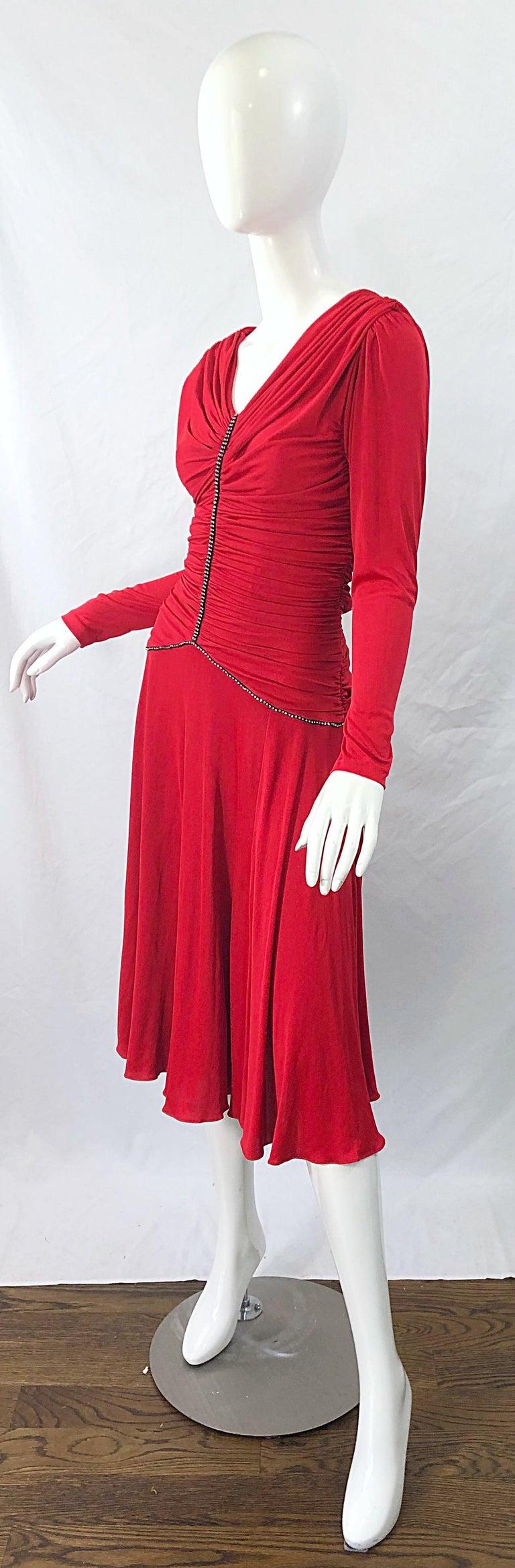1970s Claraluna Original Lipstick Red Rhinestone Slinky Jersey Vintage 70s Dress For Sale 1