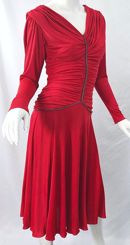 1970s Claraluna Original Lipstick Red Rhinestone Slinky Jersey Vintage 70s Dress For Sale 4