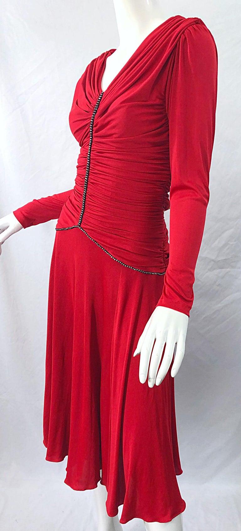 1970s Claraluna Original Lipstick Red Rhinestone Slinky Jersey Vintage 70s Dress For Sale 5