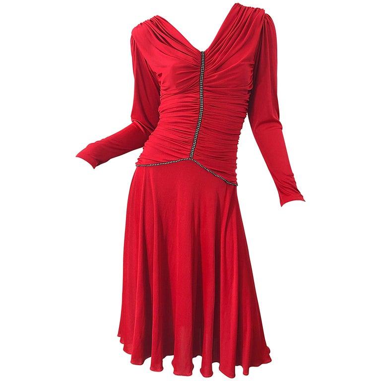 1970s Claraluna Original Lipstick Red Rhinestone Slinky Jersey Vintage 70s Dress For Sale