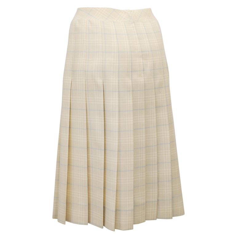 White 1970s Classic Celine Cream and Blue Tartan Pleated Skirt  For Sale