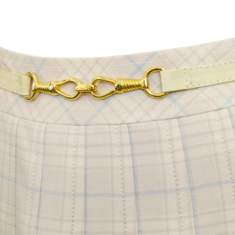 1970s Classic Celine Cream and Blue Tartan Pleated Skirt  In Good Condition For Sale In Toronto, Ontario