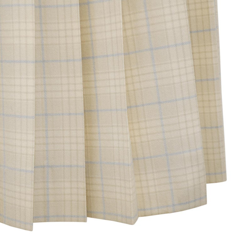Women's 1970s Classic Celine Cream and Blue Tartan Pleated Skirt  For Sale
