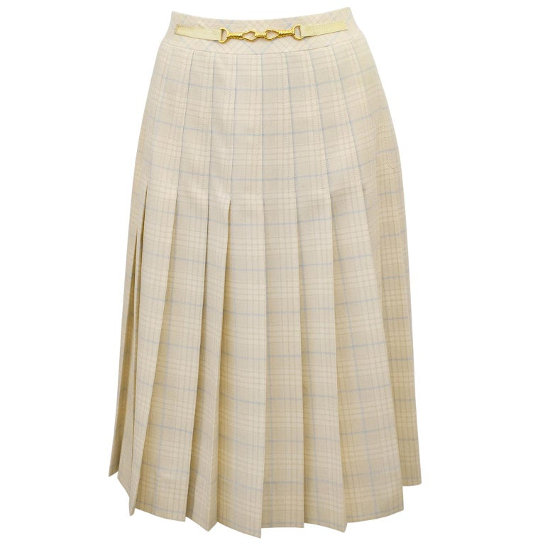 1970s Classic Celine Cream and Blue Tartan Pleated Skirt  For Sale