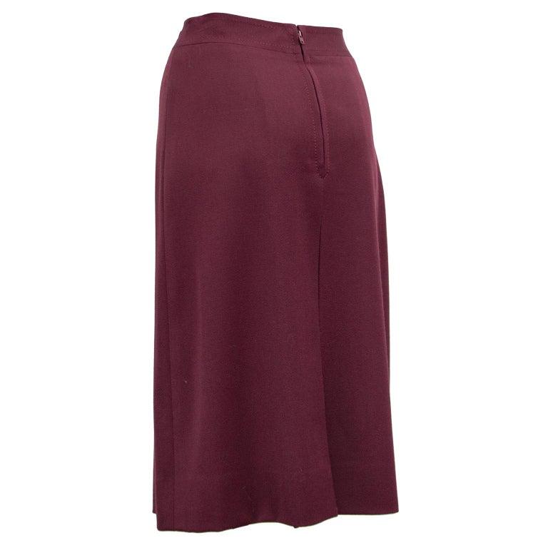 Brown 1970s Classic Celine Maroon Wool Gabardine Pleated Skirt  For Sale