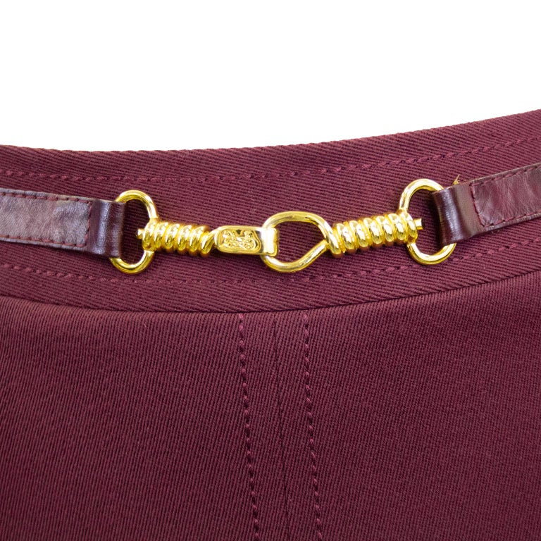 1970s Classic Celine Maroon Wool Gabardine Pleated Skirt  In Good Condition For Sale In Toronto, Ontario