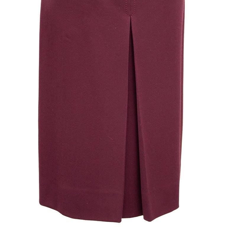 Women's 1970s Classic Celine Maroon Wool Gabardine Pleated Skirt  For Sale