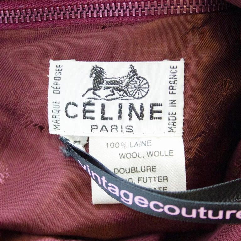 1970s Classic Celine Maroon Wool Gabardine Pleated Skirt  For Sale 1