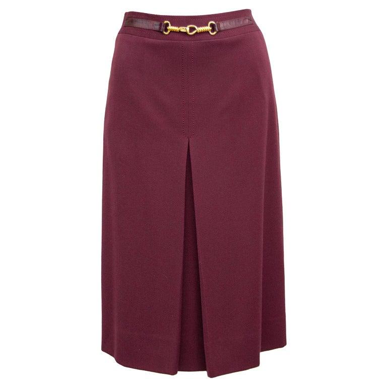 1970s Classic Celine Maroon Wool Gabardine Pleated Skirt  For Sale