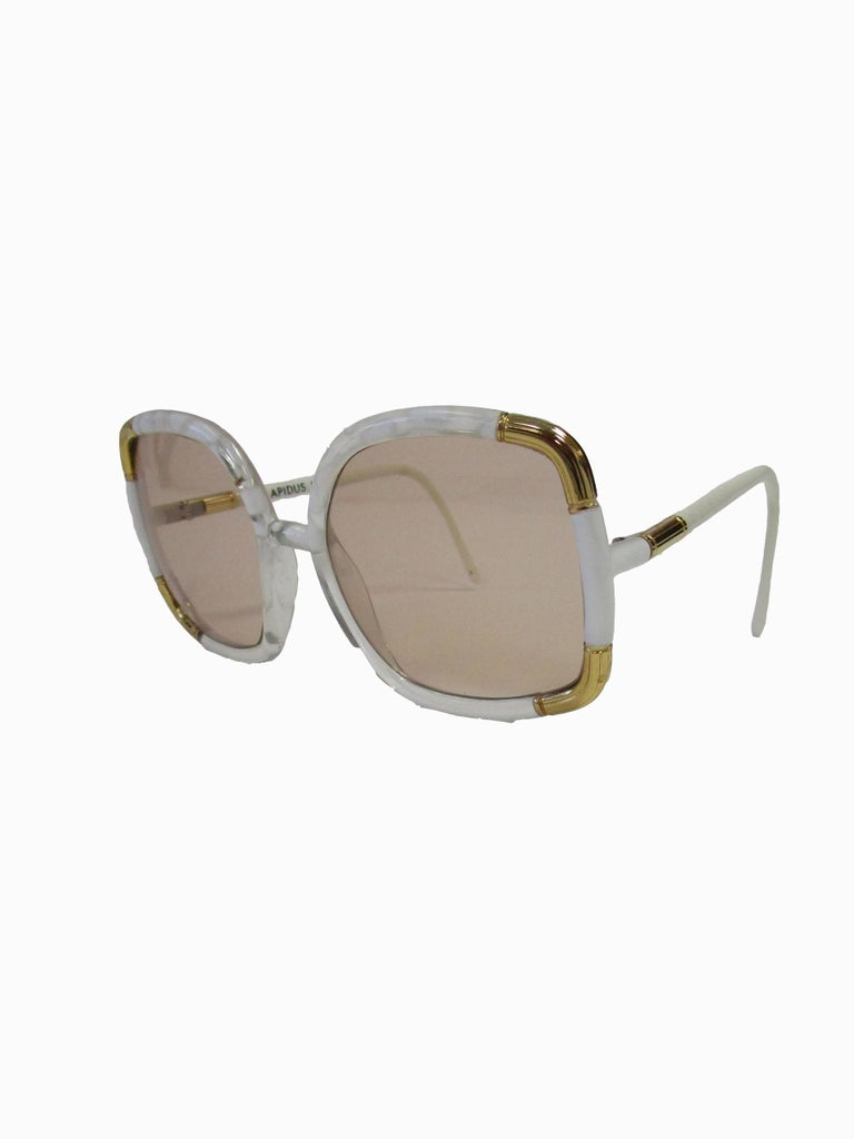 Brown 1970s Classic Ted Lapidus Paris Sunglasses White Marbled and Gold Hardware For Sale