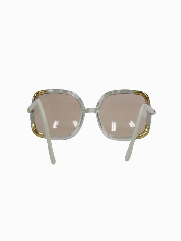 1970s Classic Ted Lapidus Paris Sunglasses White Marbled and Gold Hardware In Excellent Condition For Sale In Houston, TX