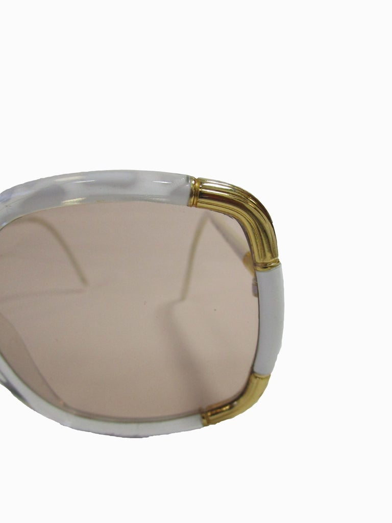 Women's 1970s Classic Ted Lapidus Paris Sunglasses White Marbled and Gold Hardware For Sale