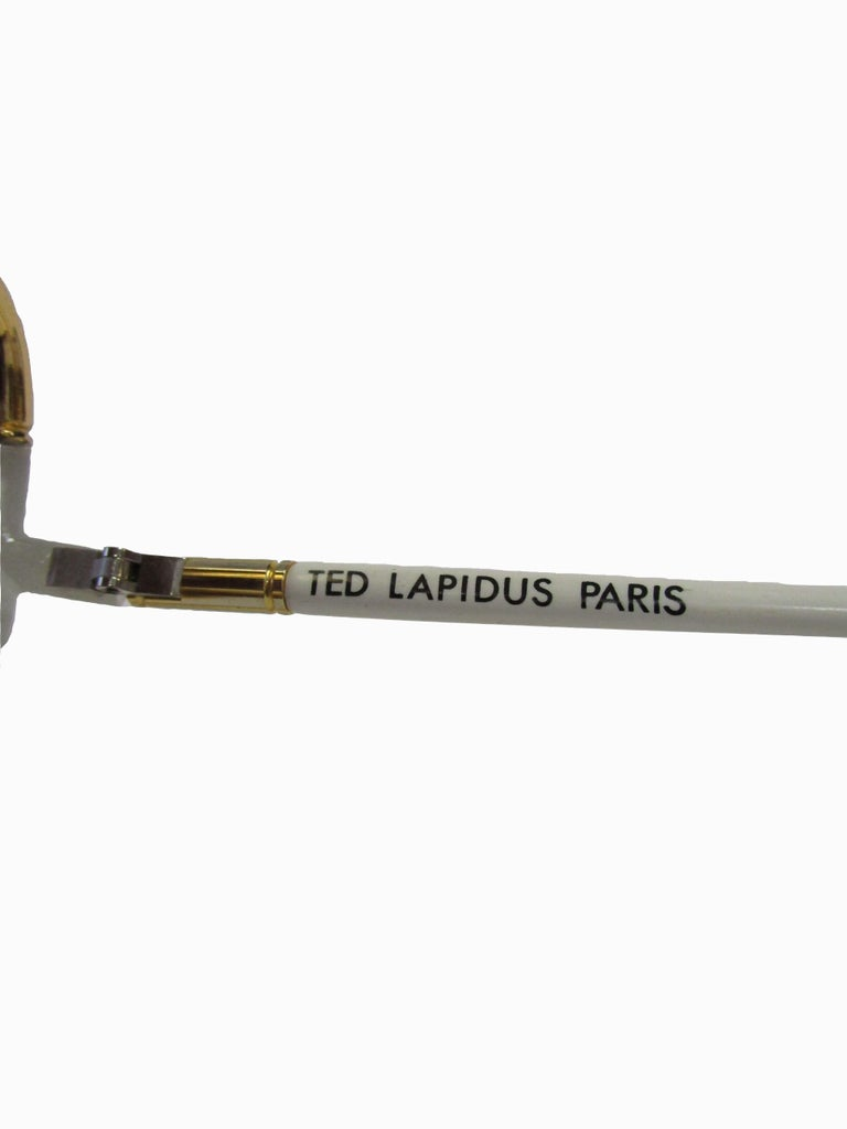 1970s Classic Ted Lapidus Paris Sunglasses White Marbled and Gold Hardware For Sale 1