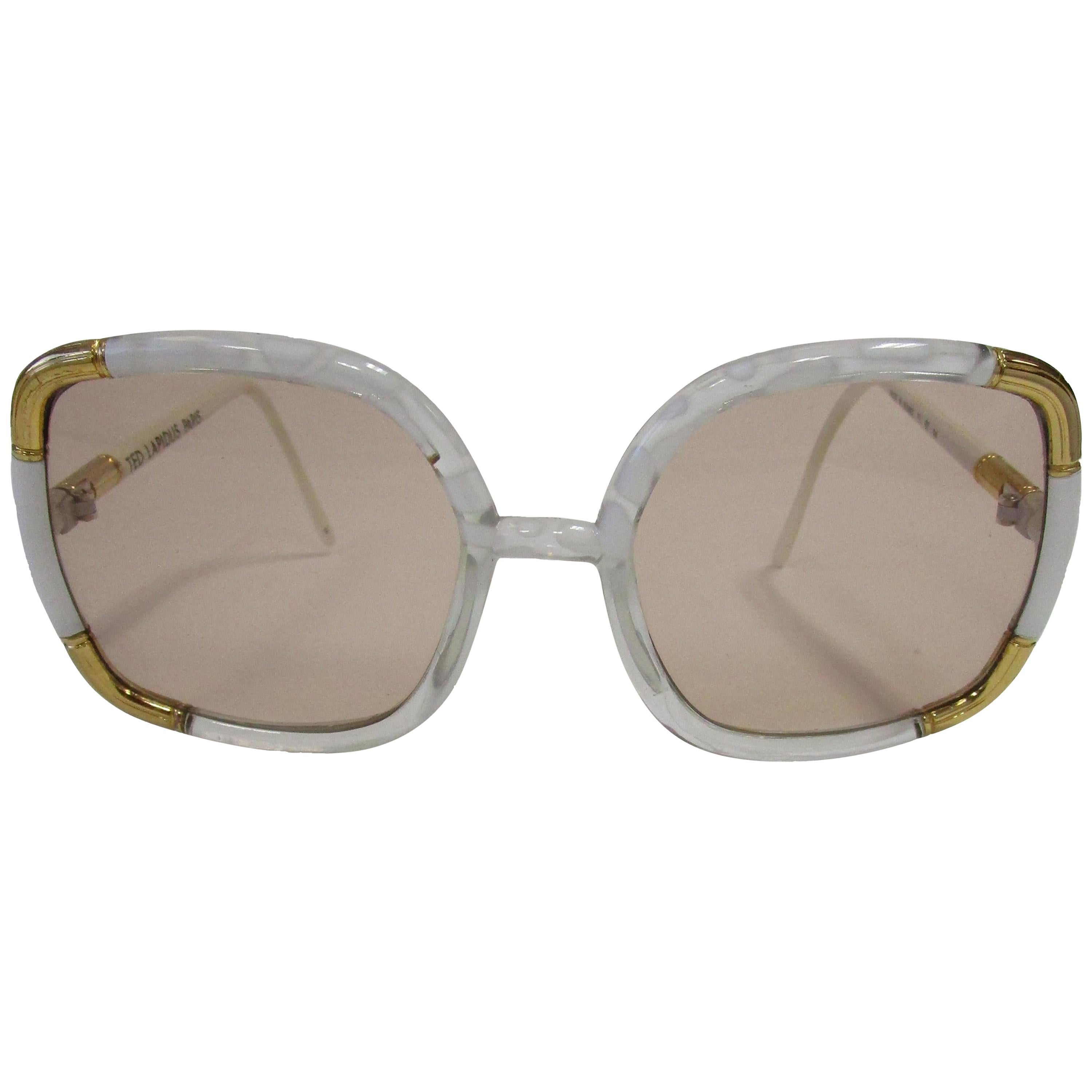 1970s Classic Ted Lapidus Paris Sunglasses White Marbled and Gold Hardware