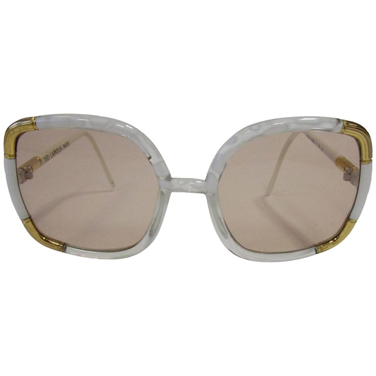 1970s Classic Ted Lapidus Paris Sunglasses White Marbled and Gold Hardware For Sale