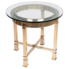 1970s Classical Italian Design Gilded Brass Round Auxiliary Table