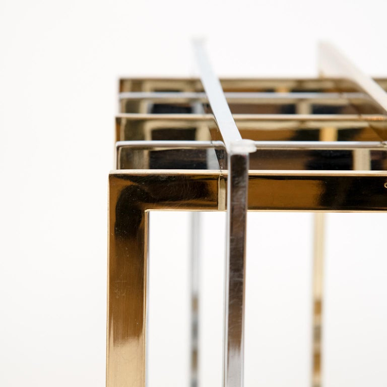 A beautiful and fabulous chrome and brass metal coffee table base in the shape of a cube by Pierre Cardin. The base is in excellent condition and has been polished!