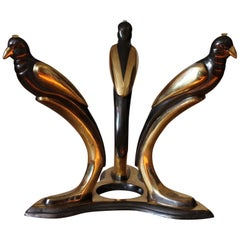 1970s Coffee Table Base with Birds, Black and Gold, France