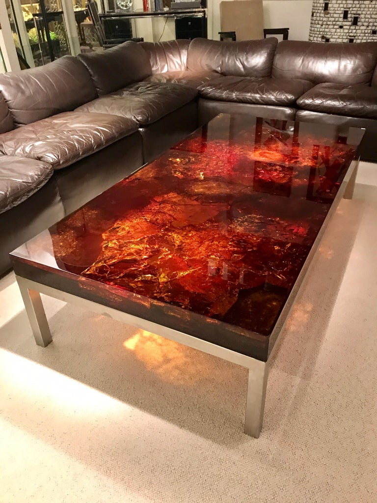 Resin 1970s Coffee Table by Marie-Claude de Fouquieres For Sale