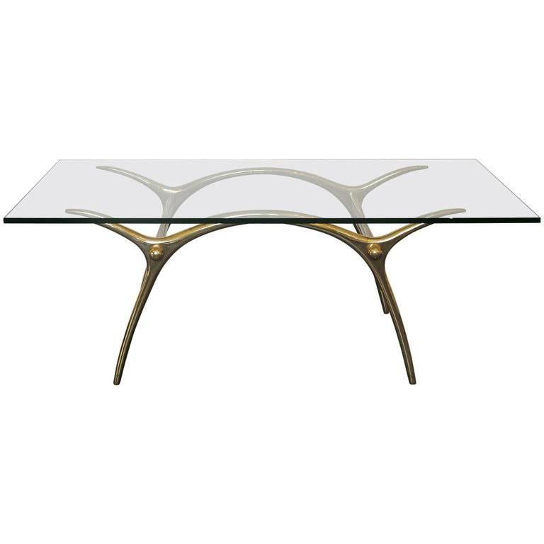 1970s Coffee Table in Glass an Polished Brass by Belgian Designer Kouloufi